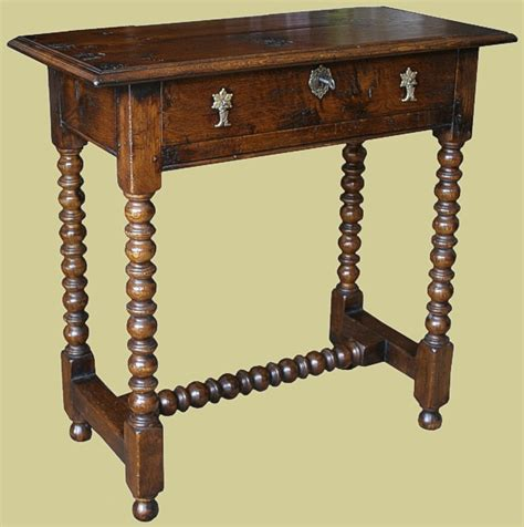 Side Table Height Narrow 17th Century Style Handmade Oak Side Table
