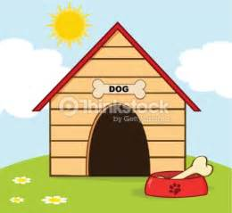 dog house with a view dog house with bowl on a hill vector art thinkstock