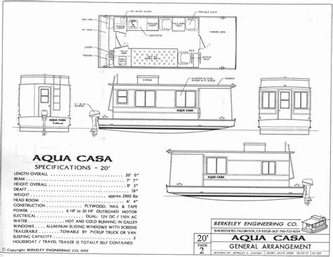 houseboat blueprints aqua casa houseboat