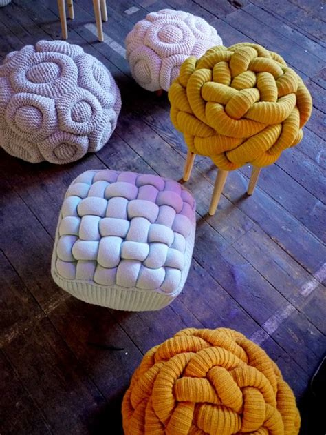 Original Puffs By Clarzoes funky knit ottomans o brien a interior design