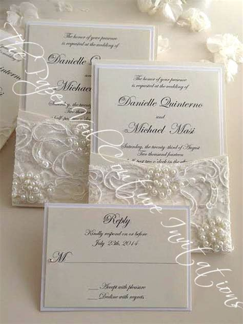 wedding invitations with pearls vintage pearl and sequin lace couture panel pocket
