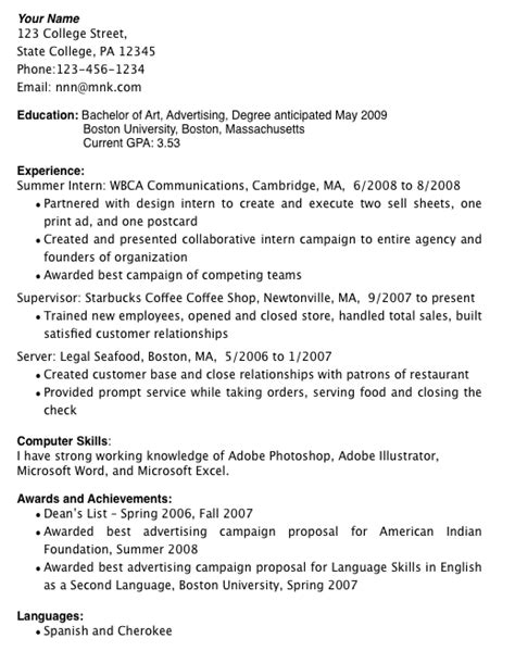 Resume Examples For College Students With Little Experience