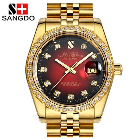 luxury mens gold watches automatic mechanical sapphire
