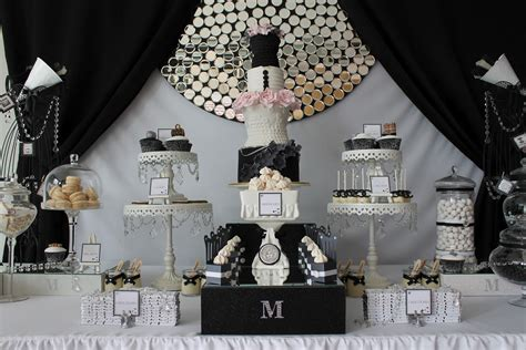 black and white theme decorations events by nat runway catwalk black white dessert table