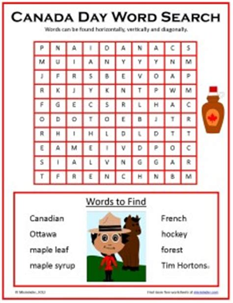 Free Search Canada Free Canada Day Word Search Happy Canada Day This July