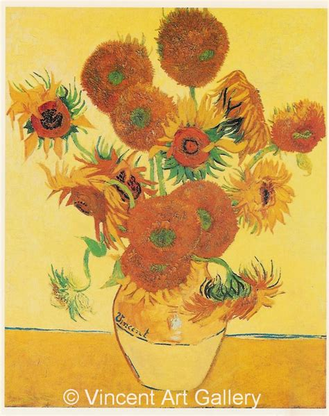 14 Sunflowers In A Vase by Still Vase With Fourteen Sunflowers By Vincent