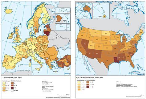 map usa vs europe homicide rate in europe vs usa 1378x935 dataisbeautiful