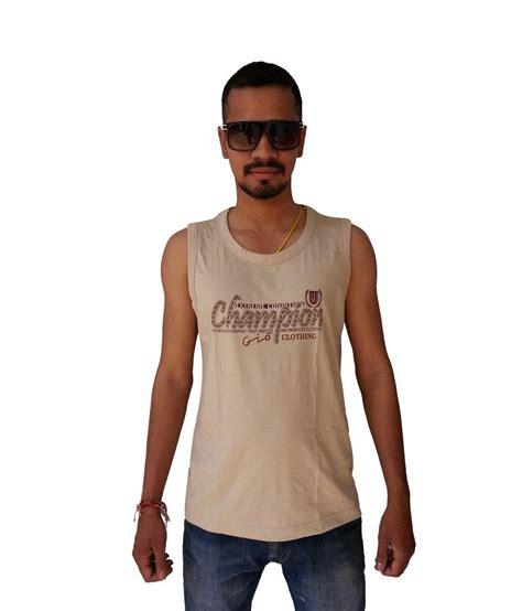 Gio Shirt gio clothing khaki cotton printed sleeveless neck t shirt buy gio clothing khaki cotton