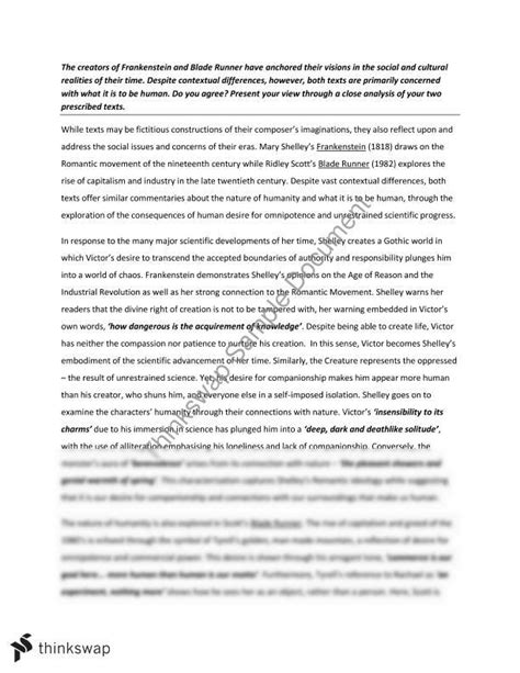 themes in frankenstein and bladerunner nature of humanity blade runner and frankenstein essay
