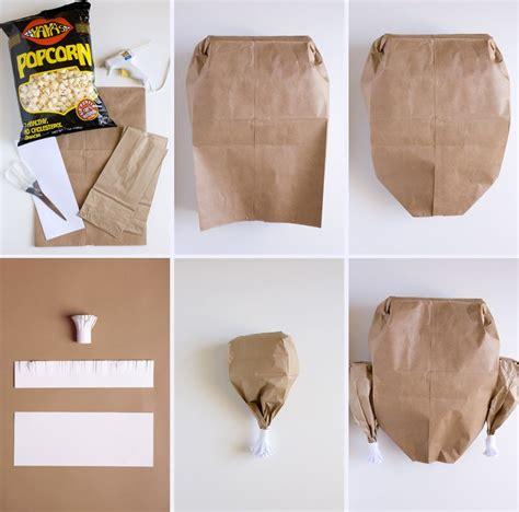 Brown Paper Bag Turkey Craft - thanksgiving feast popcorn filled paper bag turkey
