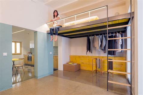 Split Bedroom Floor Plan Nook Architects Insert A Loft Into A Small Barcelona Apartment
