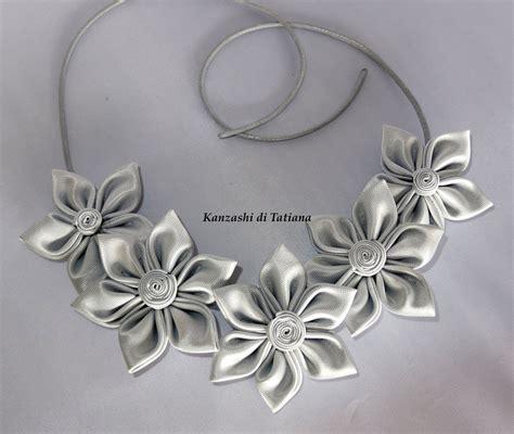 collane fiori collana con fiori kanzashi grandi fatti a mano colore