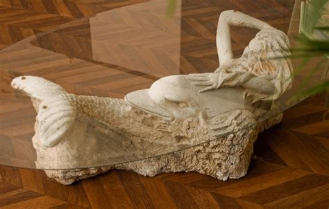 Coffee table, sculpted stone, mermaid, siren, 70s, vintage