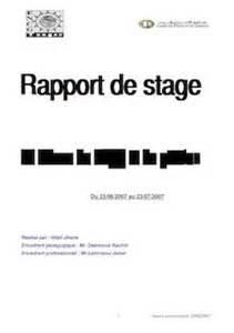rapport de stage pdf exemple page de garde ou pdf sur