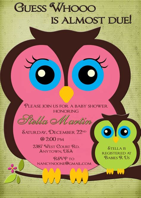 printable owl boy baby shower invitations owl baby shower invitation boy or girl pink and green mom