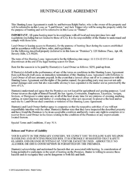free printable hunting lease agreement hunting lease agreement ez landlord forms