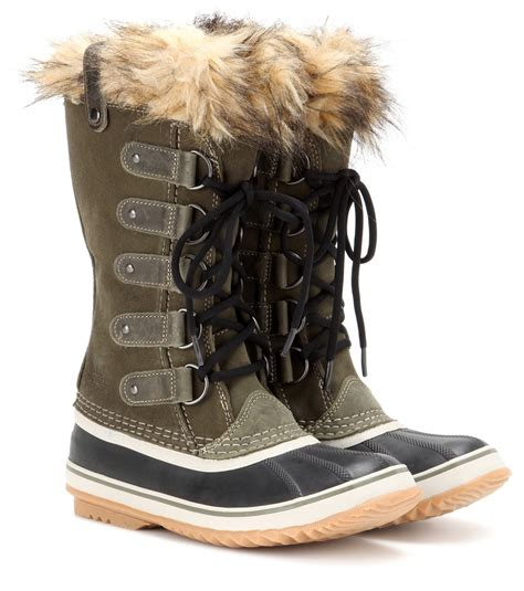 sorel joan of arc boots sorel joan of arctic suede snow boots in green lyst