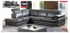 605 modern gray italian leather sectional sofa