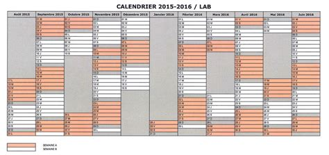 Calendrier B Calendrier 2015 2016 Semaine A Et B Lyc 233 E Amiral Bouvet