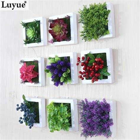 fake flowers home decor new 3d creative metope succulent plants imitation wood