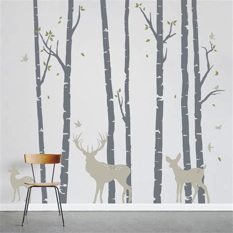 birch tree with bird and deer wall decals add a nature to your decor birch trees forest with deer wall decal wall decals
