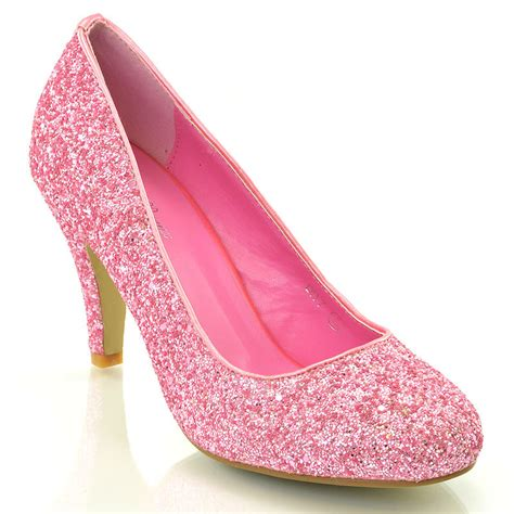 womens low heel bridal evening prom glitter