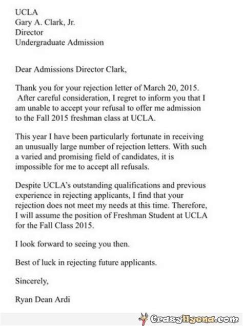 College Acceptance Letter Ucla Hilarious Letter To Ucla Director In Response To Rejection