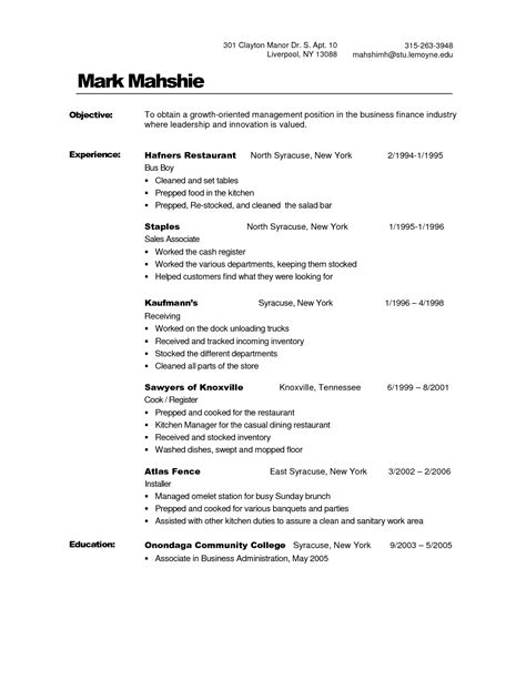 Busser Resume by Busboy Resume Template Busboy Description Resume