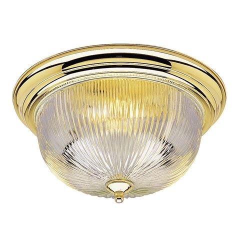 Home Depot Interior Light Fixtures Westinghouse 3 Light Ceiling Fixture Polished Brass Interior Flush Mount With Ribbed