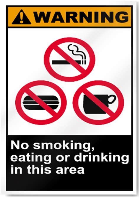 eating and drinking area safety signs signstoyou com no smoking eating or drinking in this area warning signs