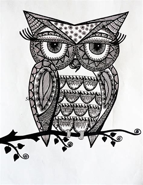 owl zentangle tattoo doodle owls to coloring pesquisa do google coloring