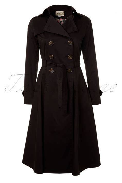 swing trench coat collectif clothing dietrich swing trench coat in black