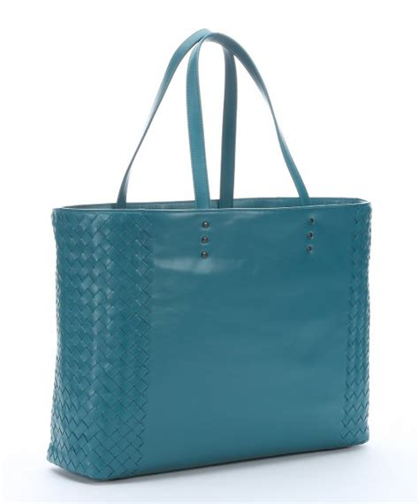 bottega veneta teal intrecciato leather tote bag in blue