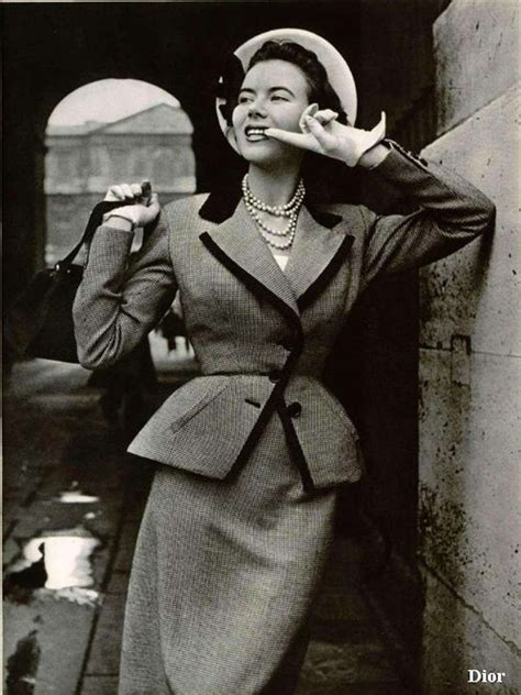 The Femme Suit Couture In The City Fashion by 1950 Christian Haute Couture Black White Wool New