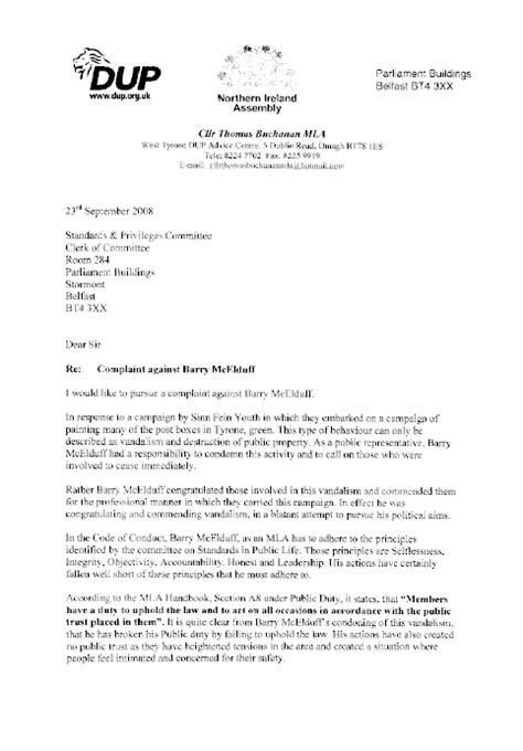 Complaint Letter Vandalism Northern Ireland Assembly Report On A Complaint By Mr Buchanan Mla Against Mr Barry