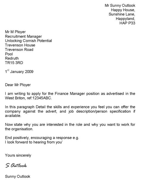 job application cover letter examples uk - Cover Letters Examples Uk