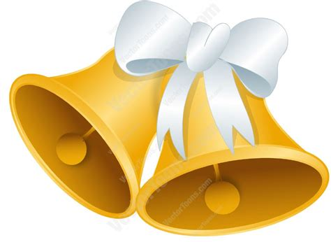 Wedding Bell Graphics by Gold Wedding Bells With A White Bow Vector Clip