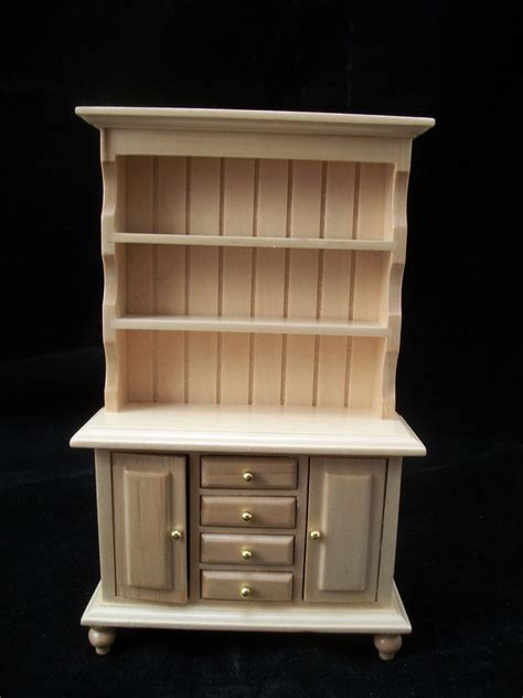 Miniature Dollhouse Kitchen Furniture Kitchen Quot Oak Quot Hutch Cupboard T4296 Miniature Dollhouse Furniture Wood 1 12 Scale Ebay