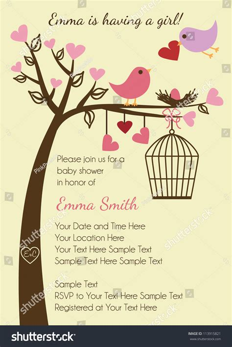 Bird Baby Shower Invitations by Bird Family Baby Shower Invitation Template Stock Vector