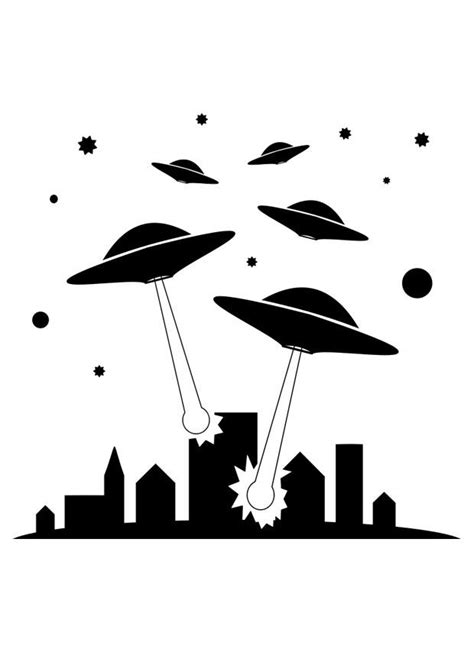 Coloring Page UFOs - free printable coloring pages