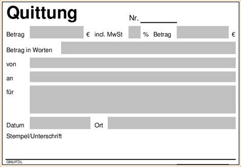 Word Vorlage Quittungsbeleg 6 vordruck quittung bewerbungsschreiben