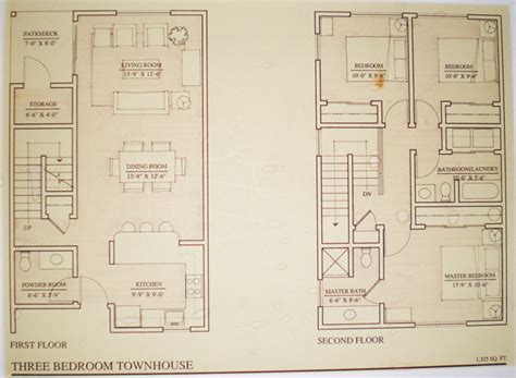 3 bedroom townhouse floor plans floor plans townhouse the heron club