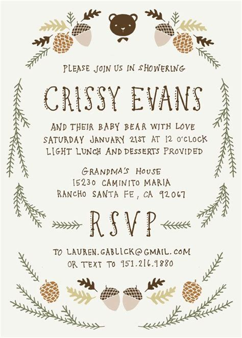 Where To Register For Baby Shower by Baby Shower Invitation And Registry Card Woodland Baby