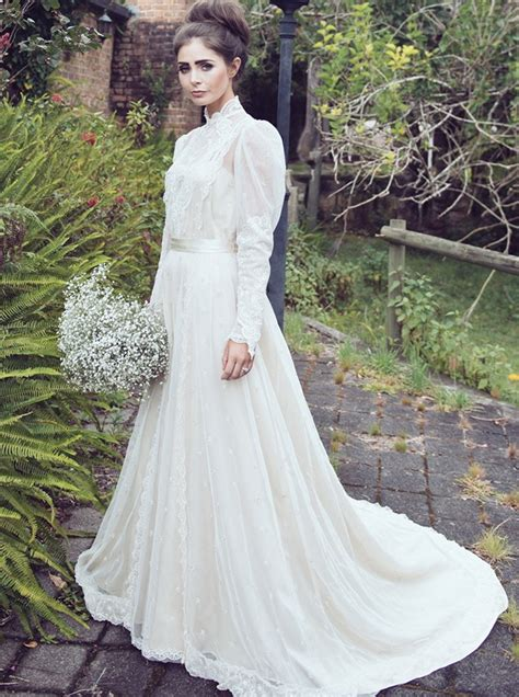 High Neck Sleeve A Line Dress a line high neck sleeves lace wedding dress with