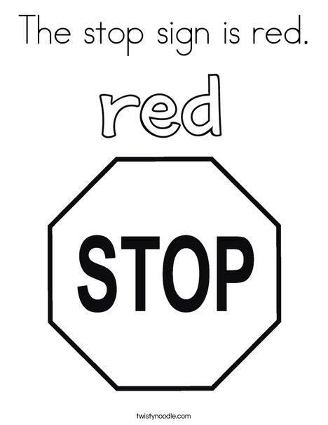 coloring page for red the stop sign is red coloring page twisty noodle