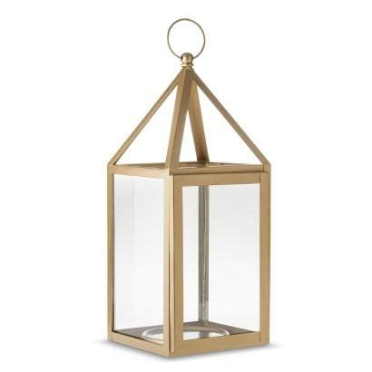 Metal and glass gold lantern