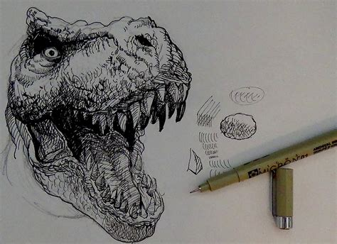 pen doodle um pen and ink drawing tutorials how to draw a t rex