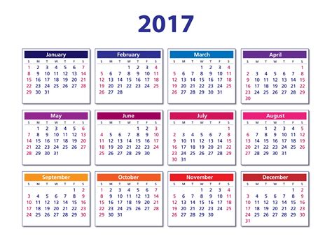Digital Calendar Template 2017