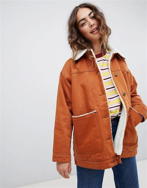 Trucker Denim Jacket In Brown monki monki borg denim trucker jacket in brown