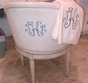 monogrammed vanity chair decor